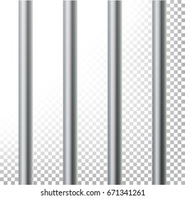Prison Bars Isolated Vector Illustration. Transparent Background. 3D Metal Jailhouse, Prison House Grid Illustration