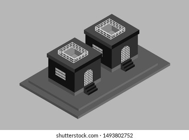 Prison with prison bars and vector illustration of prisoner buildings or buildings eps.10