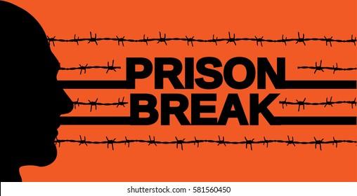 prison break poster. vector illustration. orange background