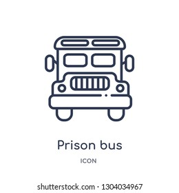 prison bus icon from transport outline collection. Thin line prison bus icon isolated on white background.