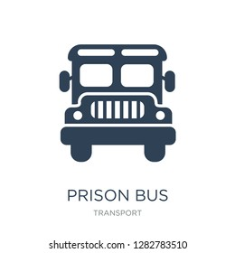 prison bus icon vector on white background, prison bus trendy filled icons from Transport collection, prison bus vector illustration