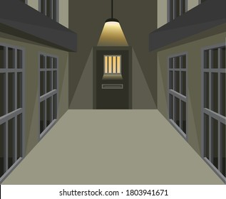 Prison cell corridor in dark scene concept in cartoon illustration vector