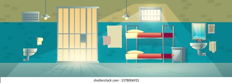 Prison cell for criminals. Interior with cracked floor, scratched, brick wall, grid door, bunk beds, washbasin, toilet. Jail double room facility for dangerous prisoners. Cartoon vector illustration.