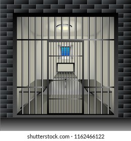 prison cell. Jail interior room interior with window grille and furniture. Vector Illustration