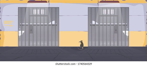Prison cell. A prison cell with a metal grate. Prison in cartoon style. Vector.