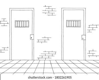 Prison corridor interior graphic black white sketch illustration vector