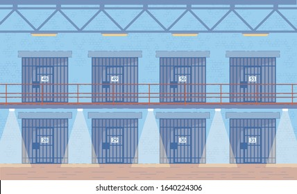 Prison Corridors with Cells Doors Interior Background. Penitentiary System or Penal Institution Building, Jail for Convicted Criminals. Punishment for Law Breaking. Flat Vector Illustration.