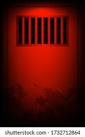 Prison door in the dark room. jail. vector design illustraton