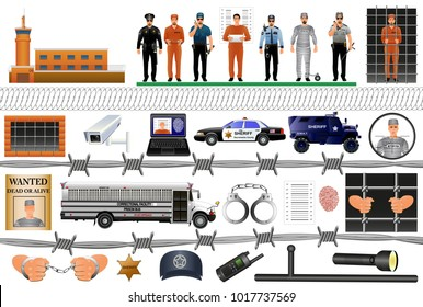 Prison equipment and uniforms. Vector illustration. Arrest and imprisonment. /Guards and prison bus. Set isolated on white