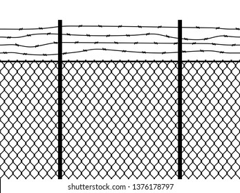 Prison fence. Seamless pattern metal fence wire military wall linkage barbed border security perimeter grid, barbwire construction vector black texture