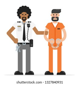 Prison guard, officer holds angry arrested criminal in orange jumpsuit. Flat vector illustration.