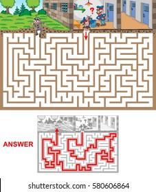 Prison. Help prison guards to catch escaped prisoner.  Labyrinth for kids. Landscape, hard.