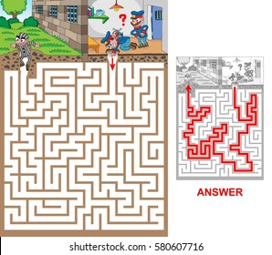 Prison. Help prison guards to catch escaped prisoner.  Labyrinth for kids. Portrait, hard.