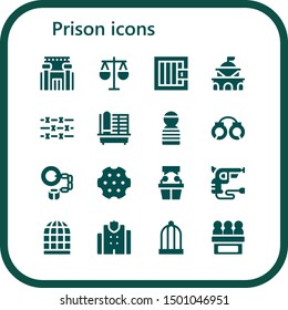 prison icon set. 16 filled prison icons.  Collection Of - Prison, Law, Jail, Government, Barbed wire, Cage, Prisioner, Handcuffs, Revolver, Witness, Bird cage, Police station