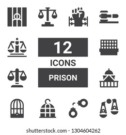prison icon set. Collection of 12 filled prison icons included Judging, Handcuffs, Bird cage, Government, Justice, Cage, Law, Prisoner, Barbed wire