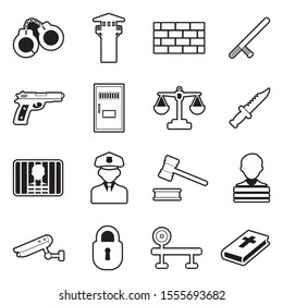 Prison Icons. Line With Fill Design. Vector Illustration.