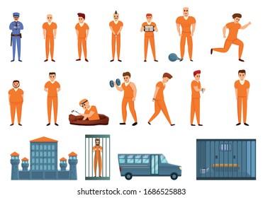 Prison icons set. Cartoon set of prison vector icons for web design