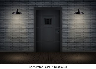 Prison interior with Metal Prison Jail cell door and lattice. Vintage jail and prison cell. Concept design for quest rooms and escape games. Vector Illustration.