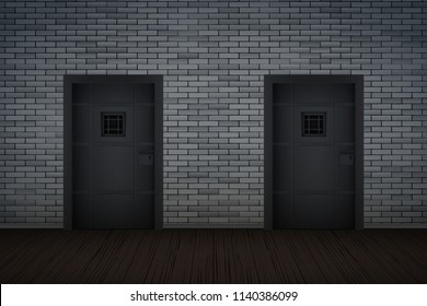 Prison interior with Metal Prison Jail cell doors and lattice. Vintage jail and prison cell. Concept design for quest rooms and escape games. Vector Illustration.