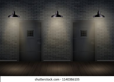 Prison interior with Metal Prison Jail cell doors and pendant lamps. Vintage jail and prison cell. Concept design for quest rooms and escape games. Vector Illustration.