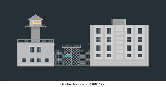 Prison jail building with guard tower and fence in flat style. Criminal prisoners cell theme. Isolated vector illustration.