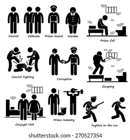 Prison Jail Convict Prisoner Inmates Guard Warden Stick Figure Pictogram Icons