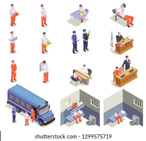 Prison jail isometric elements set with trial sentenced criminals transportation visitation cells gym guards isolated vector illustration