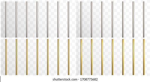 Prison metal bars set isolated on transparent background. Iron, steel and golden empty jail cage. Vector security prison pipe or stick border patterns