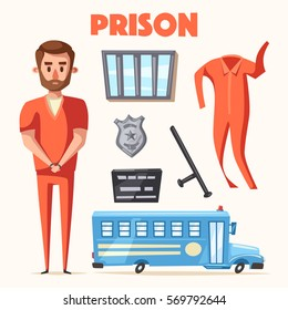 Prison with prisoner. Character design. Cartoon vector illustration