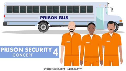 Prison security concept. Detailed illustration of prison bus and prisoners on white background in flat style. Vector illustration.