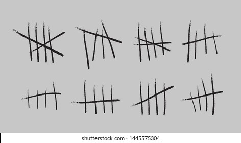 Prison symbols, Jail tally marks. Hand drawn Lines or sticks, strokes sorted by four and crossed out. Vector illustration.