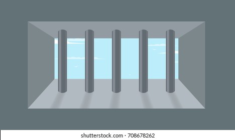prison wall with window. Vector illustration
