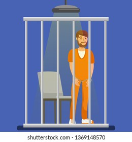 Prisoner behind Metal Bars Vector Illustration. Handcuffed Jailed Man Standing in Cell, Cage Cartoon Character. Imprisoned Bearded Lawbreaker, Culprit, Thief, Robber Wearing Orange Uniform