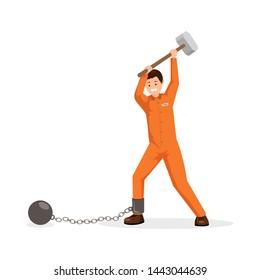 Prisoner breaking shackles flat vector illustration. Man in prison uniform holding huge sledge hammer, trying to break chain with ball. Avoiding responsibility burden, mental pressure metaphor