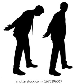 Prisoner businessman. Arrested. Vector illustration a man in a suit holds his hands behind his back. Set of two black silhouettes isolated on a white background. A man holds his hands in handcuffs.