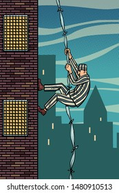 A prisoner escapes from prison. The descent from the heights of related sheets. Jailbreak. Comic cartoon pop art retro illustration hand drawing