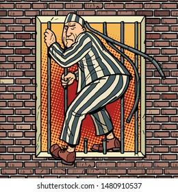 A prisoner escapes from prison. Jailbreak. Comic cartoon pop art retro illustration hand drawing