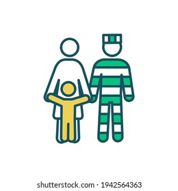 Prisoner family support RGB color icon. Raising kid with parent in prison. Imprisonment influence on family relationships. Ex-prisoner support. Coping with incarceration. Isolated vector illustration