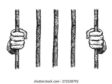 Prisoner Hands on a Bar Hand Drawn Illustration Vector