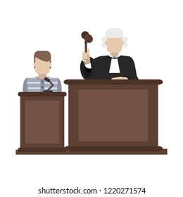 Prisoner and judge in courtroom