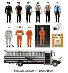 Prisoner and prison guard uniform. Vector illustration isolated on white background