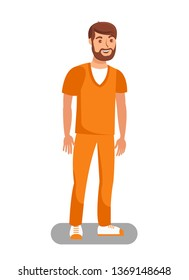 Prisoner Released on Bail Flat Vector Illustration. Unchained Lawbreaker, Offender Cartoon Character. Convict Wearing Orange Uniform. Bearded Male Recidivist, Inmate Free form Detention