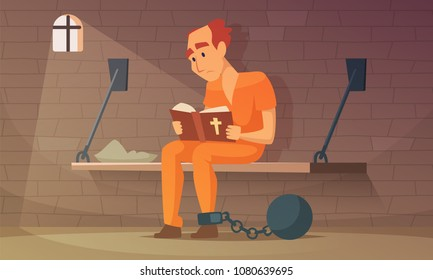 Prisoner sitting in cell and reading bible