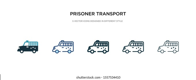 prisoner transport vehicle icon in different style vector illustration. two colored and black prisoner transport vehicle vector icons designed in filled, outline, line and stroke style can be used
