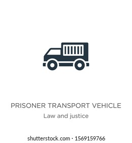 Prisoner transport vehicle icon vector. Trendy flat prisoner transport vehicle icon from law and justice collection isolated on white background. Vector illustration can be used for web and mobile