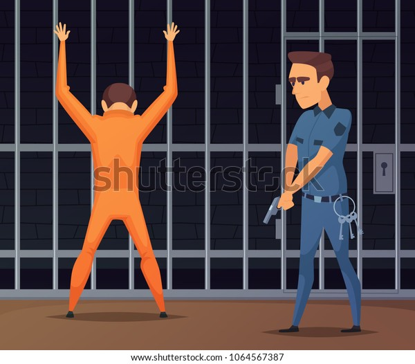 Prisoners on inspection near the camera. Criminal in prison, policeman inspection and search camera, vector illustration