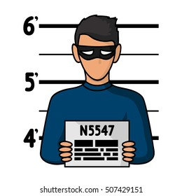 Prisoner's photography icon in cartoon style isolated on white background. Crime symbol stock vector illustration.