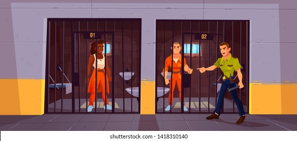 Prisoners in prison jail and policeman. People in orange jumpsuits in cell. Arrested convict men standing behind of metal bars. Life in jailhouse. Police, indoors interior. Cartoon vector illustration