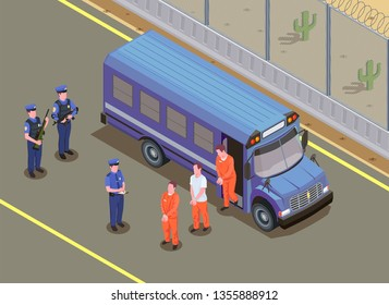 Prisoners transportation isometric composition with security guards watching convicted criminals in uniform stepping off van vector illustration