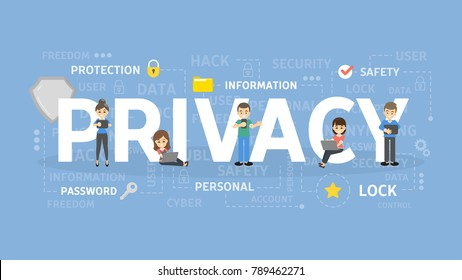 Privacy concept illustration. Idea of data, network and safety.